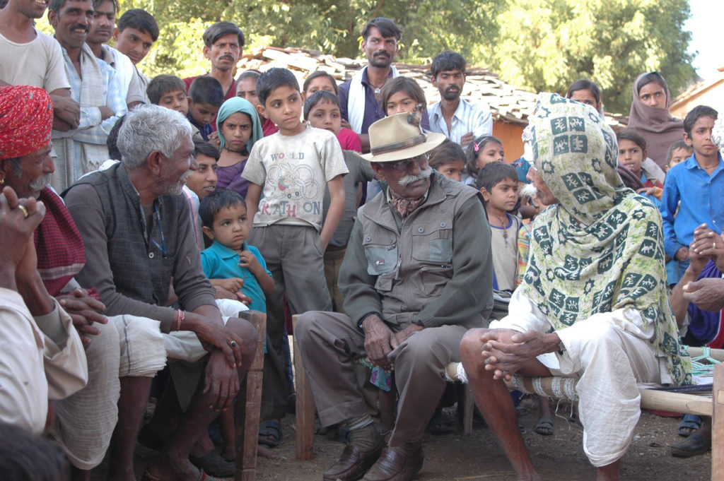 with villagers